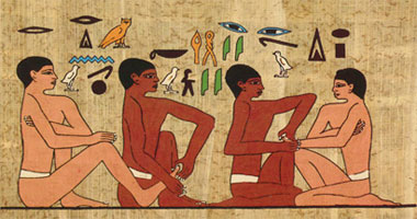 """Early 6thDynasty wall painting (about 2330 B.C.) in the tomb of Ankhmahor, known as the physician's tomb. The translation reads """"don't hurt me.' The practitioner's reply: """"I shall act so you praise me."""" If you look carefully, you can see one practitioner is working with a foot and the other is working with a hand. A wonderful bird's eye view into reflexology being practiced in ancient Egyptian times!"""